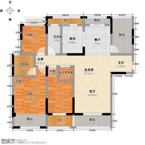 荣华世家3室0厅2卫1厨125.00㎡户型图