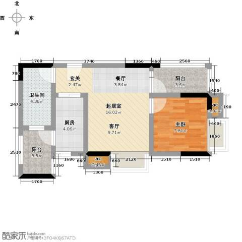 丽景名筑1室0厅1卫1厨52.00㎡户型图
