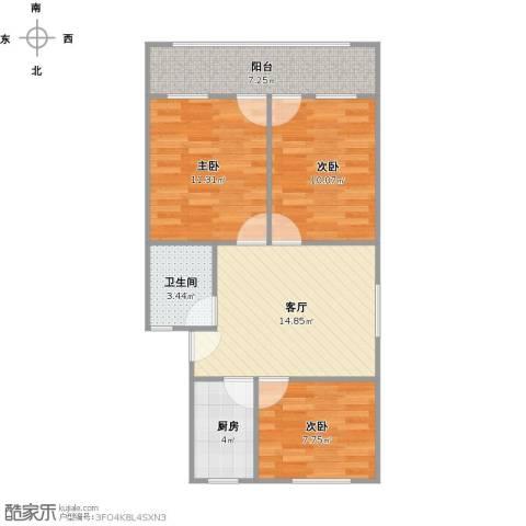 大华路301弄小区3室1厅1卫1厨80.00㎡户型图
