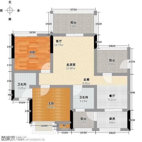 丽景名筑2室0厅2卫1厨84.00㎡户型图