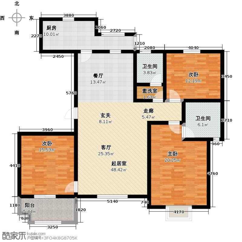 紫薇壹C2三室两厅两卫户型-T