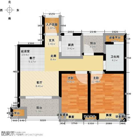 中铁诺德誉园2室0厅1卫1厨81.00㎡户型图