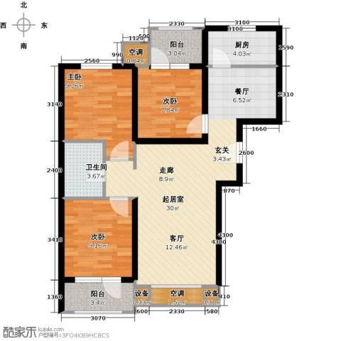 红星国际广场3室0厅1卫1厨95.00㎡户型图
