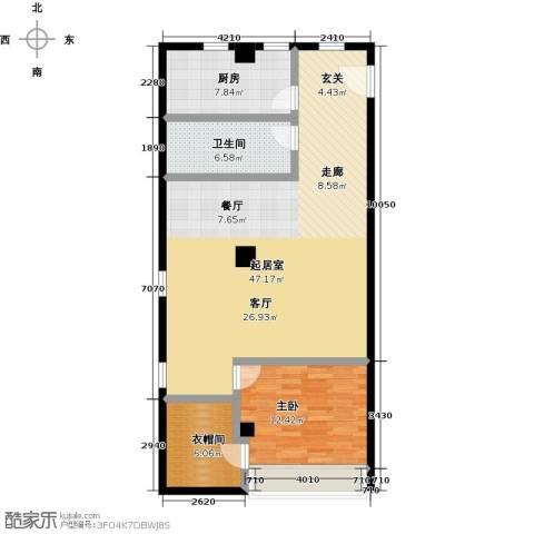 凡高公寓1室0厅1卫1厨94.00㎡户型图