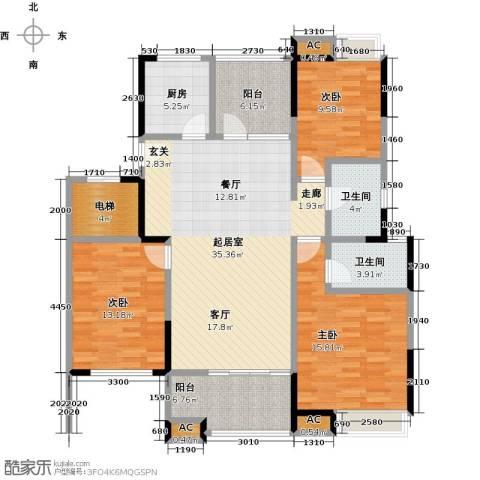 恒大晶筑城3室0厅2卫1厨128.00㎡户型图