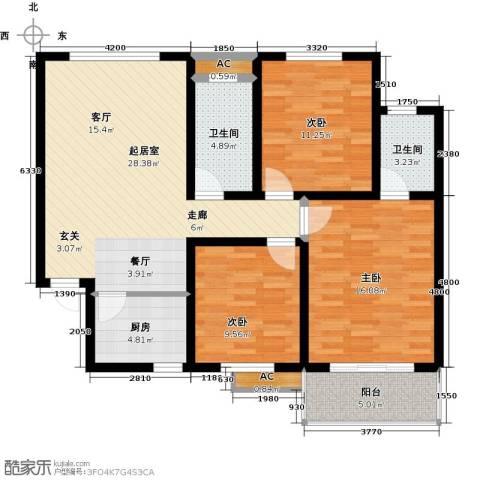 国际时代广场3室0厅2卫1厨122.00㎡户型图