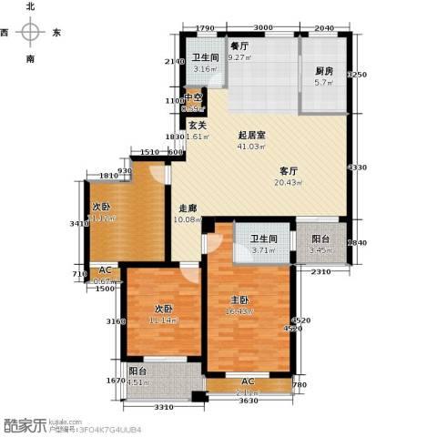 国际时代广场3室0厅2卫1厨148.00㎡户型图