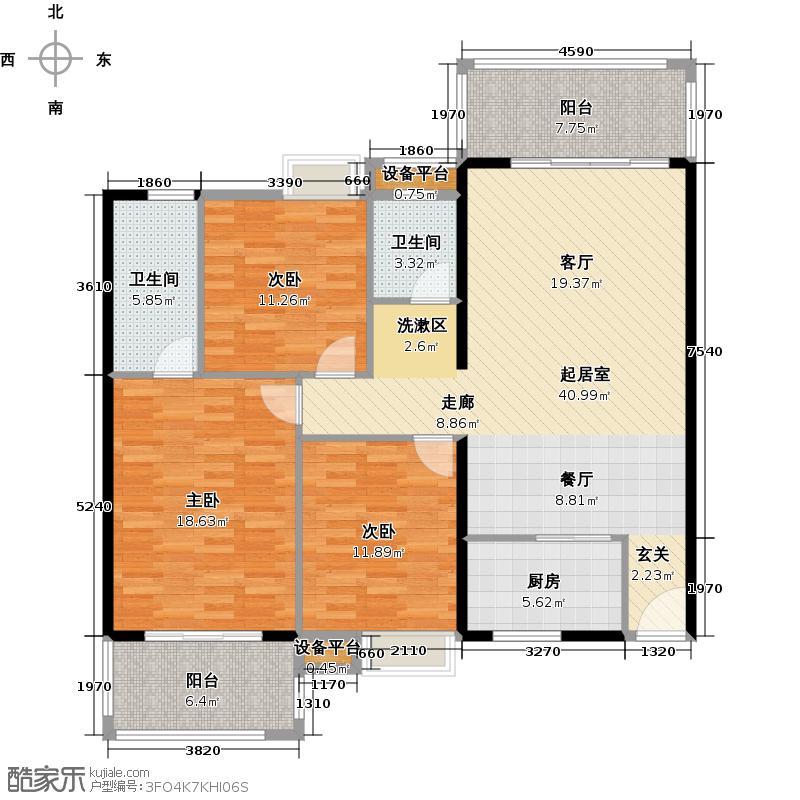 富雅国际三房两厅两卫两阳台,约125㎡户型