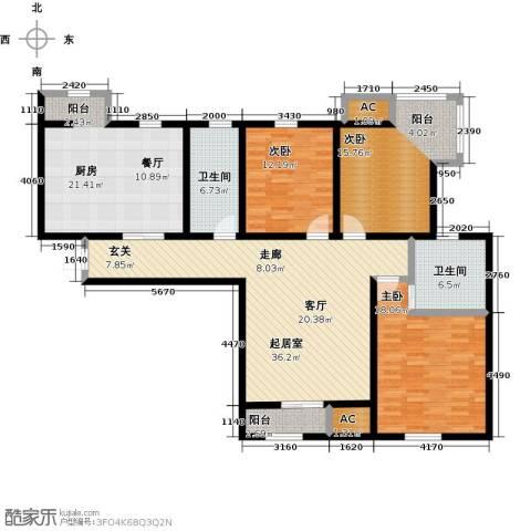 金海湾公寓3室0厅2卫1厨140.00㎡户型图