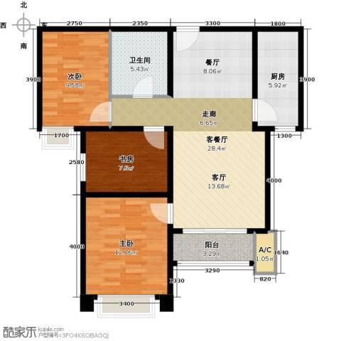 中建滨海壹号3室1厅1卫1厨104.00㎡户型图