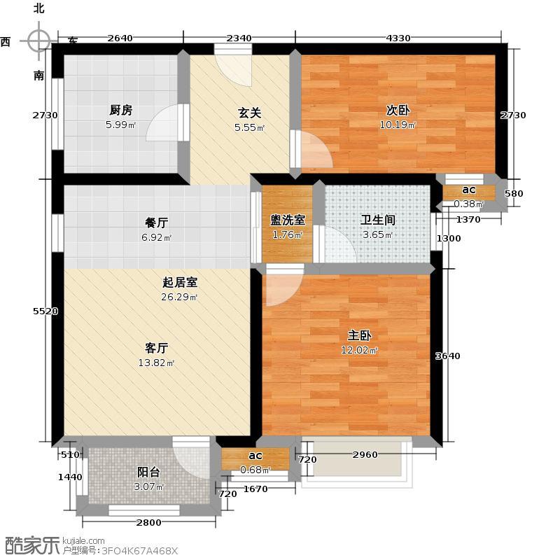 新汇华庭90.00㎡2号楼B户型两室两厅一卫 90平米户型2室1厅1卫