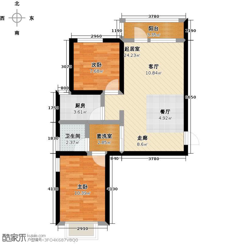 金乾公馆80.49㎡E户型两室两厅80.49平米样板间户型2室2厅1卫