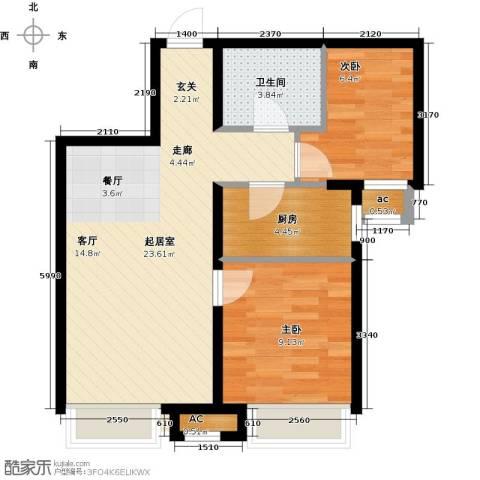 和泓四季恋城2室0厅1卫1厨70.00㎡户型图