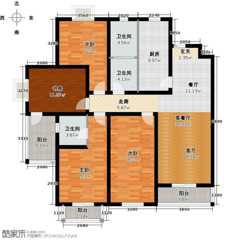 环海君和花园157.45㎡D户型4室2厅2卫