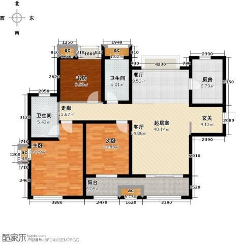 九龙仓时代上城二期繁华里3室0厅2卫1厨120.00㎡户型图