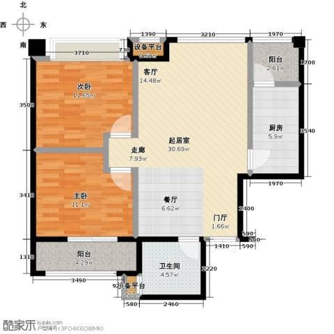 冠亚星城2室0厅1卫1厨80.00㎡户型图