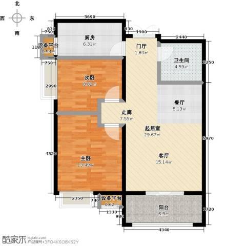 冠亚星城2室0厅1卫1厨78.00㎡户型图