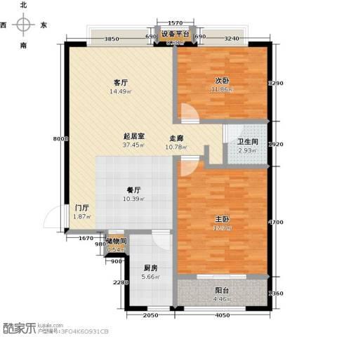冠亚星城2室0厅1卫1厨90.00㎡户型图