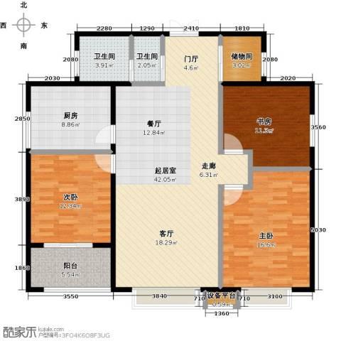 冠亚星城3室0厅2卫1厨118.00㎡户型图