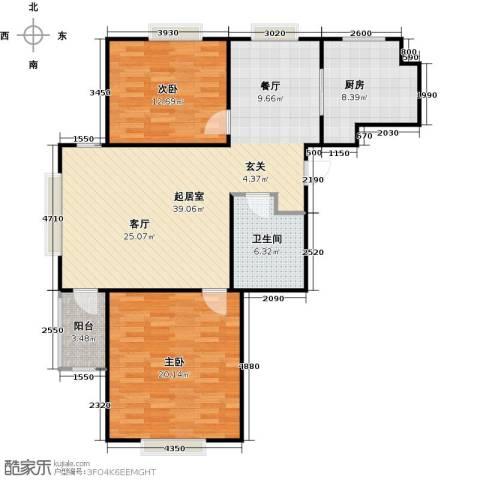 锦绣华城2室0厅1卫1厨96.00㎡户型图