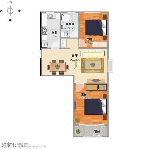 朝阳北部湾2室1厅1卫1厨74.00㎡户型图