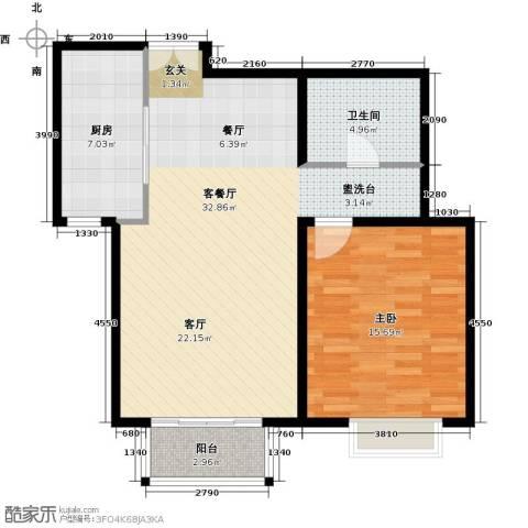 住总尚清湾1室1厅1卫1厨70.00㎡户型图