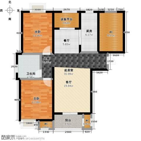 保利玫瑰湾2室0厅1卫1厨91.00㎡户型图