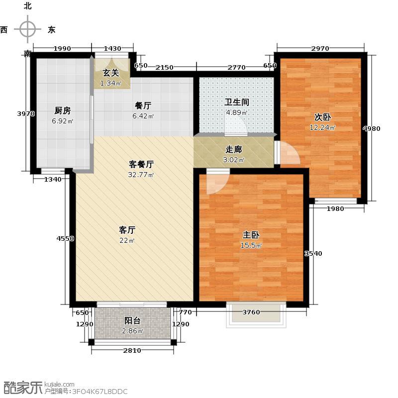 住总尚清湾83.70㎡两室两厅户型2室2厅1卫