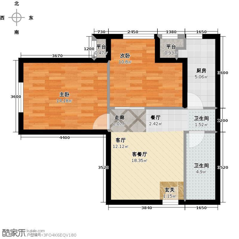 华远汤米公馆75.00㎡E户型 2室1厅1卫户型