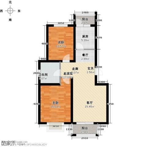 港东未来城2室0厅1卫1厨90.00㎡户型图