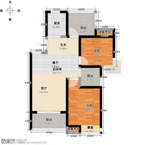 中铁诺德誉园2室0厅0卫1厨88.00㎡户型图
