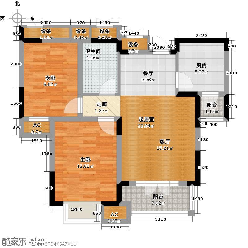 剑桥港湾89.00㎡高层B3户型2室2厅1卫