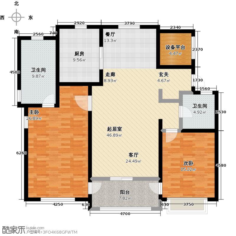 海信天玺142.00㎡a户型2室2厅2卫-T