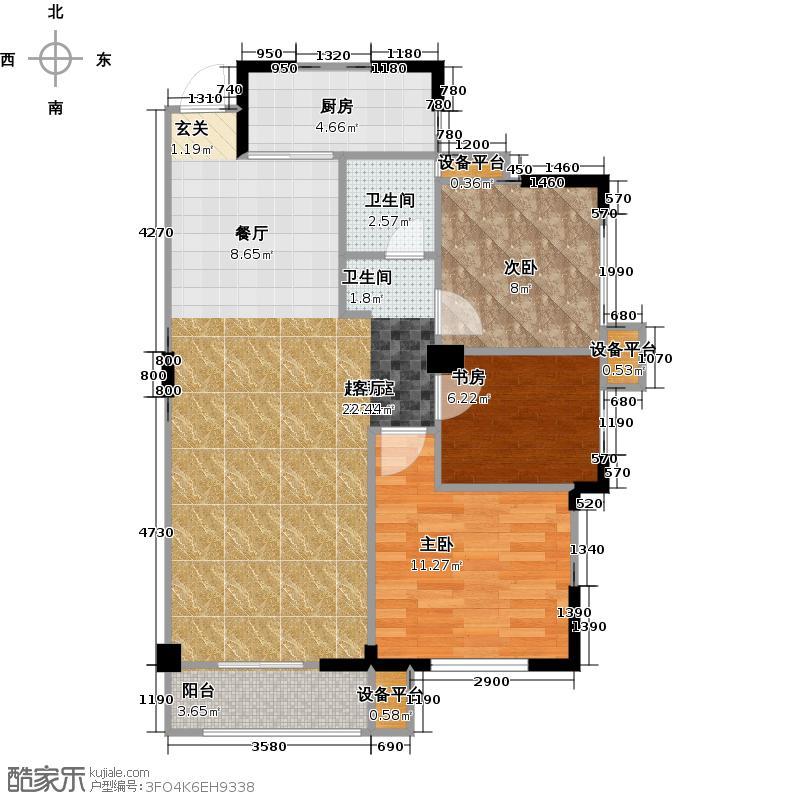 F、学府91.00㎡C1户型3室2厅1卫