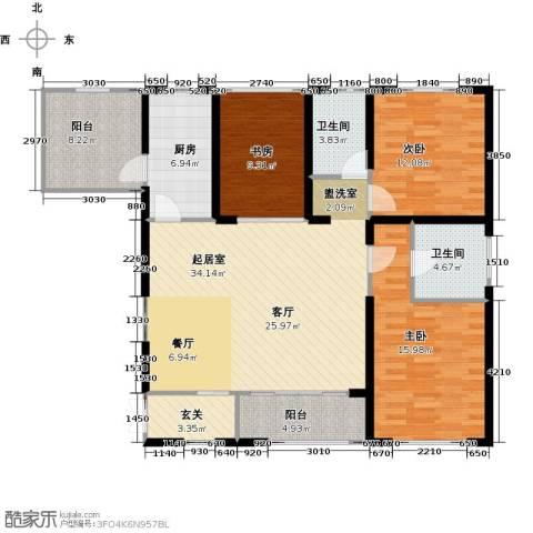 香榭兰廷3室0厅2卫1厨144.00㎡户型图