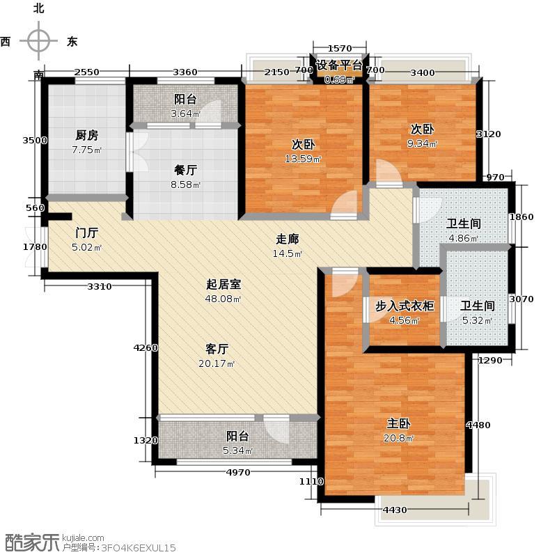 中信�台140.00㎡高层3室140平米户型