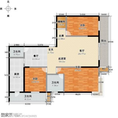 曼哈顿水岸公馆3室0厅3卫1厨210.00㎡户型图