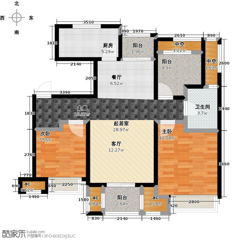 中海御景湾90.00㎡A6户型3室2厅1卫