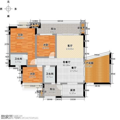 正和中州3室1厅2卫1厨119.00㎡户型图