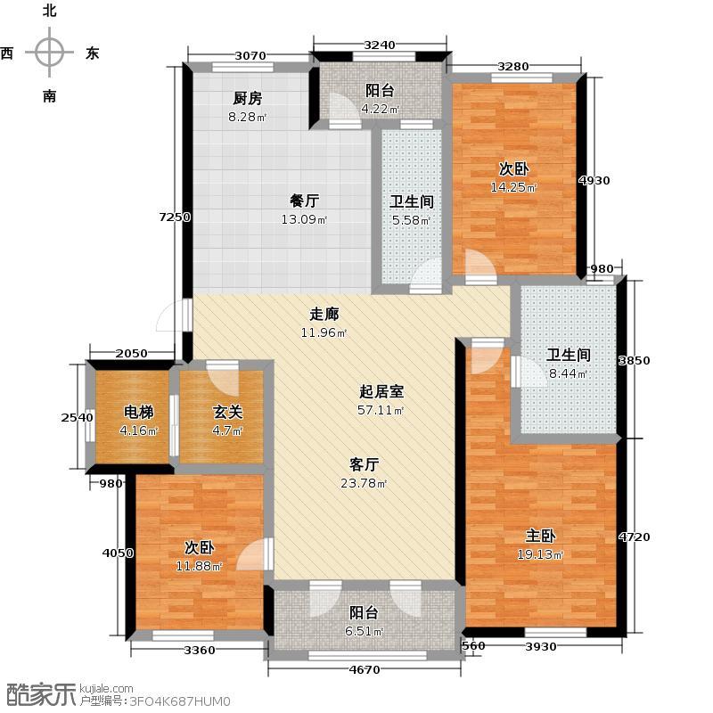 钻石湾160.00㎡三室二厅二卫户型3室2厅2卫