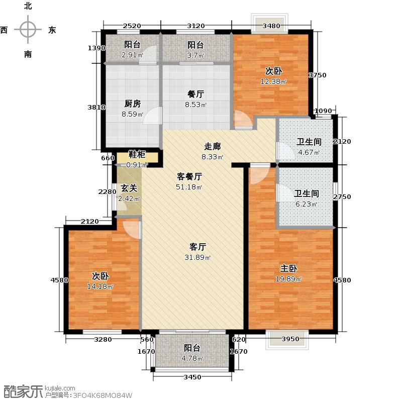 住总尚清湾142.39㎡三室两厅户型