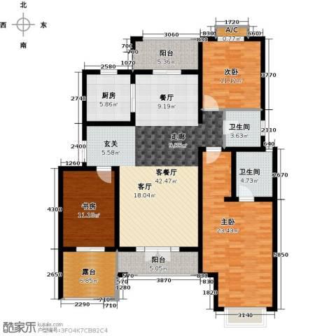 加州玫瑰园3室1厅2卫1厨136.00㎡户型图