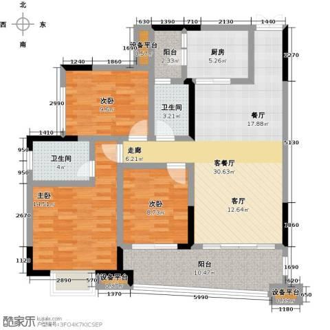 正和中州3室1厅2卫1厨112.00㎡户型图