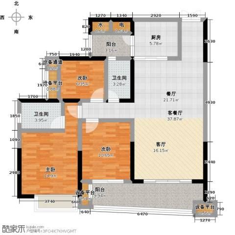 正和中州3室1厅2卫1厨127.00㎡户型图