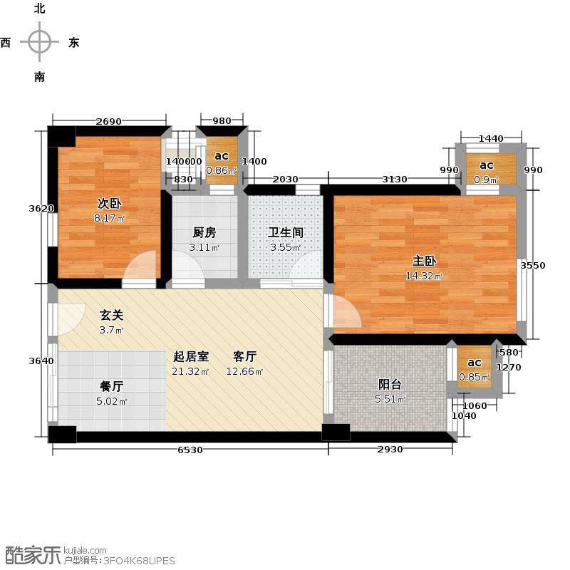 顺天花苑67.46㎡两房两厅一卫 67.46平米户型2室2厅1卫