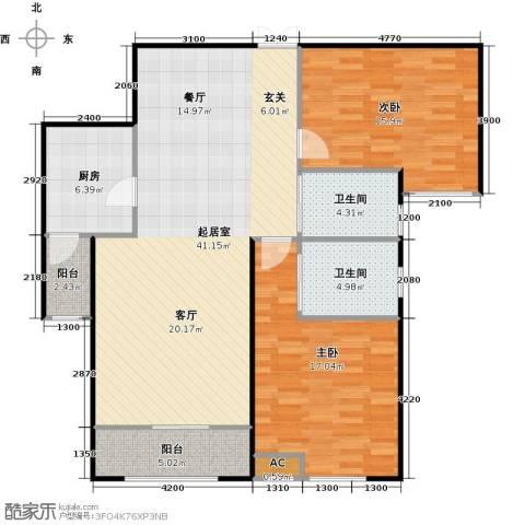 振业城中央2室0厅2卫1厨131.00㎡户型图