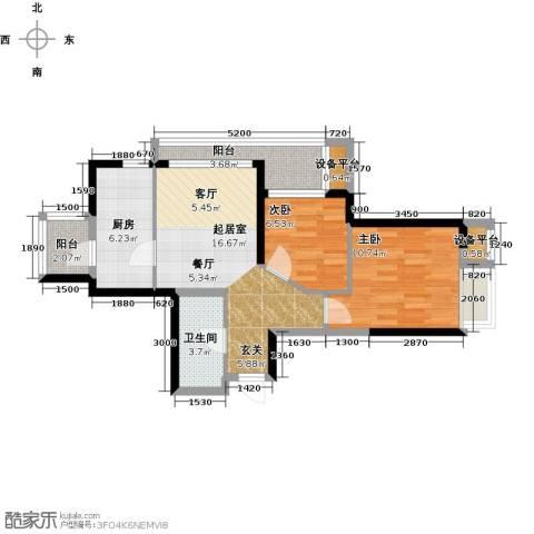星耀五洲2室0厅1卫1厨67.00㎡户型图