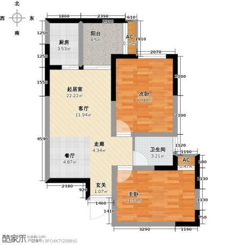 国际时代广场2室0厅1卫1厨85.00㎡户型图