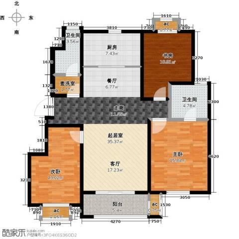 旭辉百合宫馆3室0厅2卫1厨115.00㎡户型图