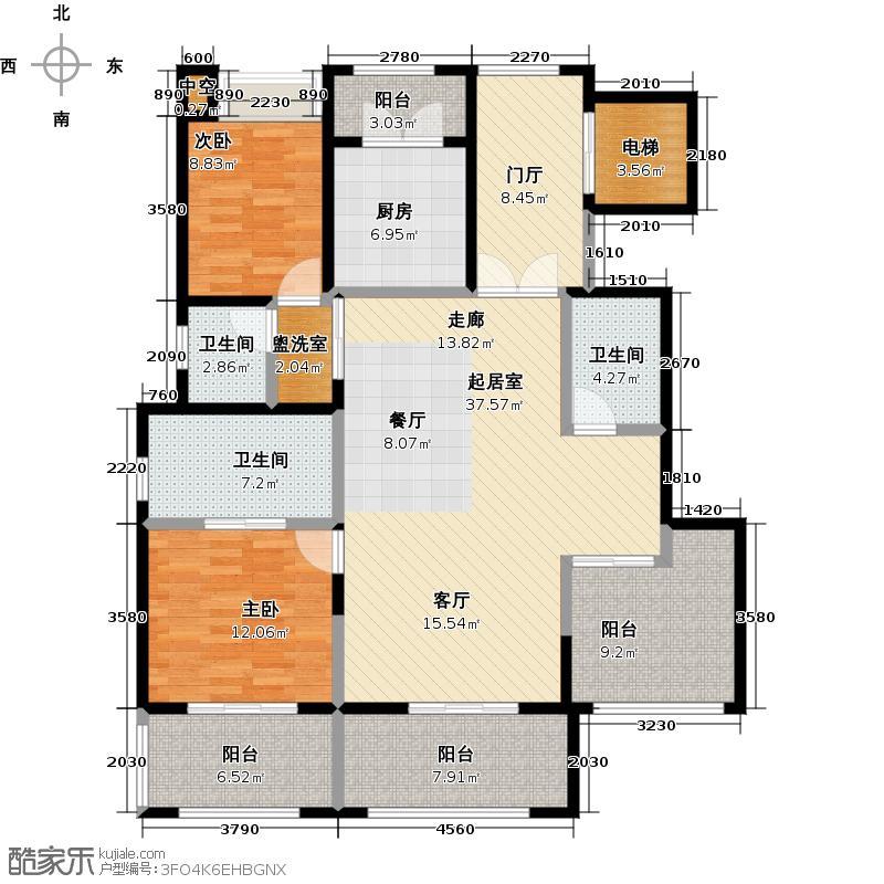金科王府140.02㎡洋房5-9F 04室户型2室2厅3卫